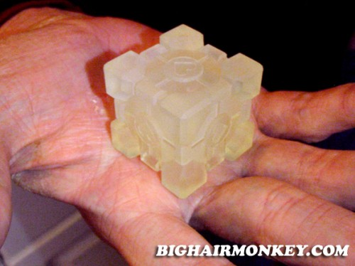 "1.5"" portal weighted companion cube of clear plastic"