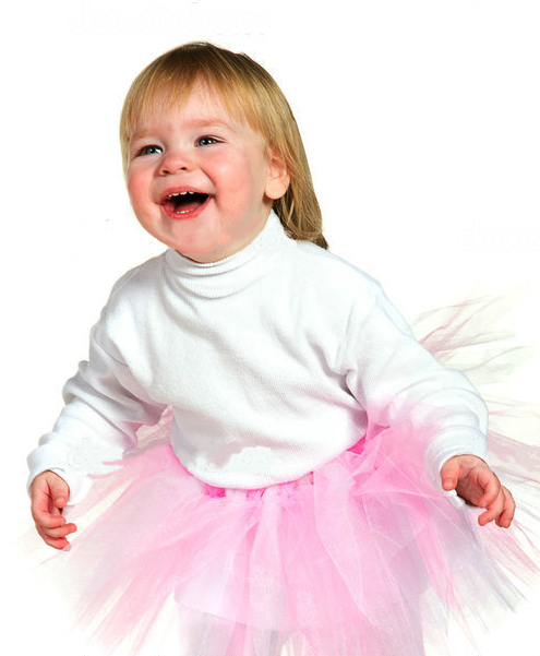 laughing little girl in tutu
